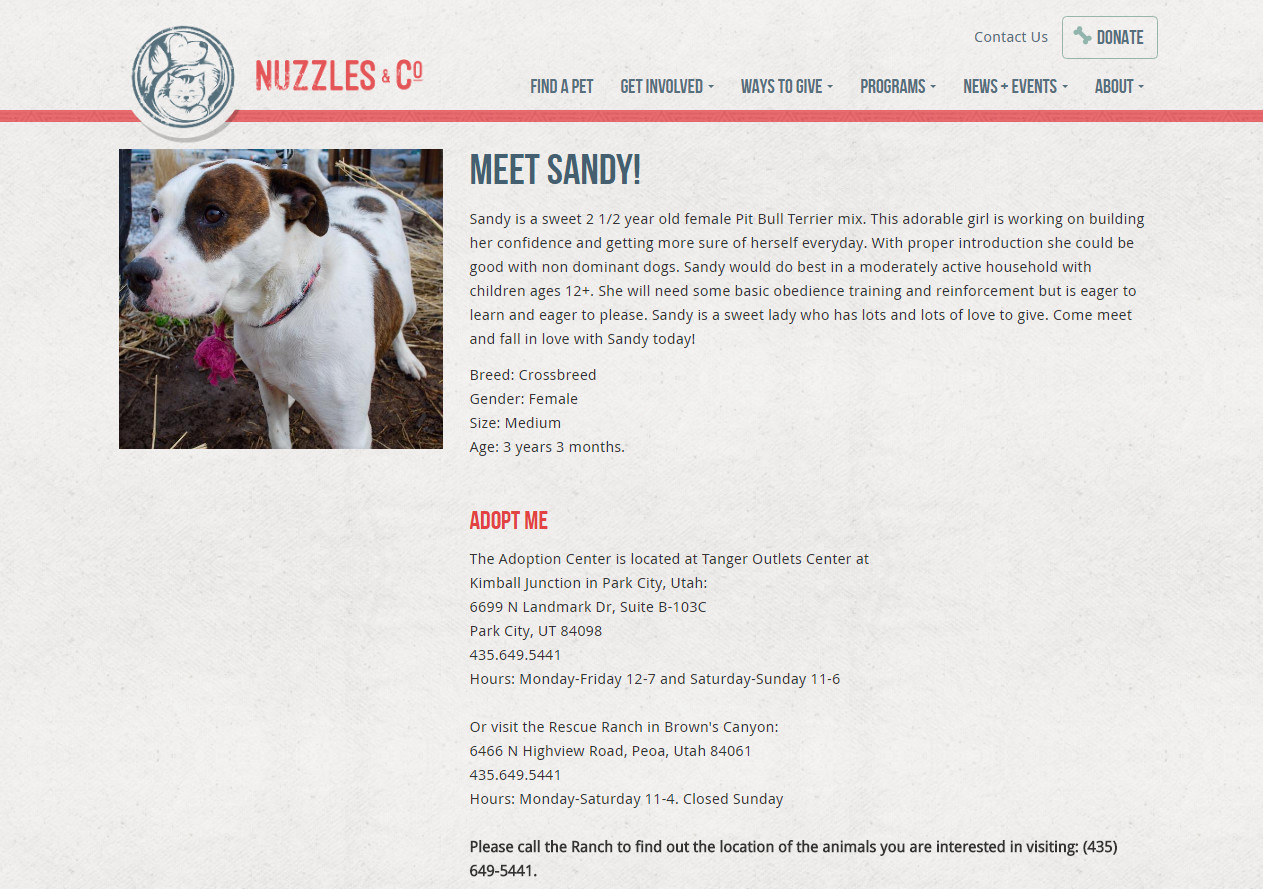 Nuzzles & Co pet detail page