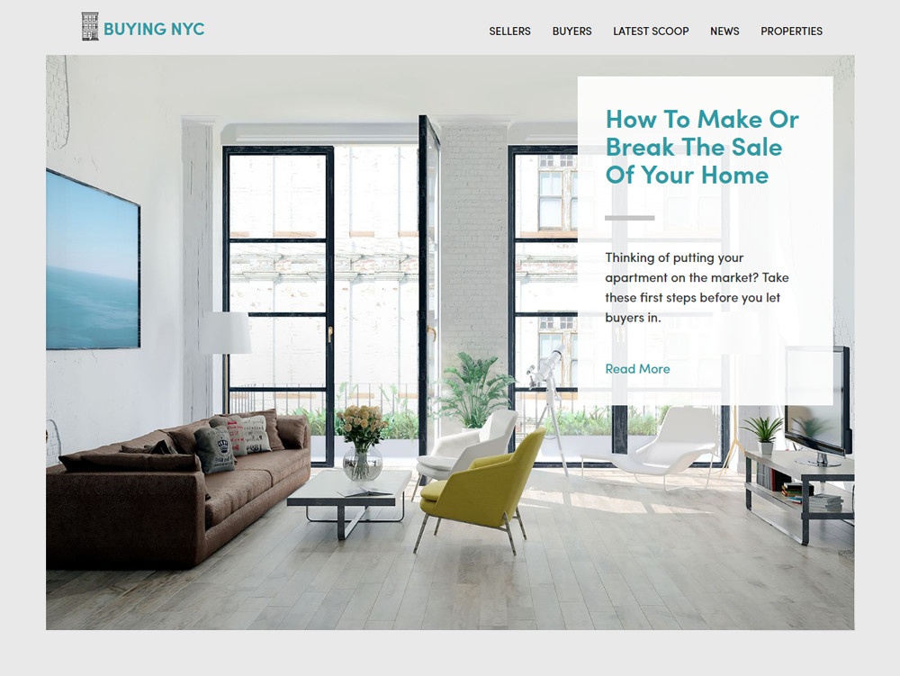 Buying NYC Homepage design
