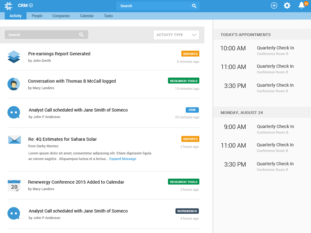 CRM Activity Feed Dashboard
