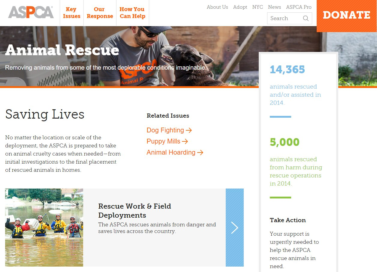 screenshot of ASPCA page