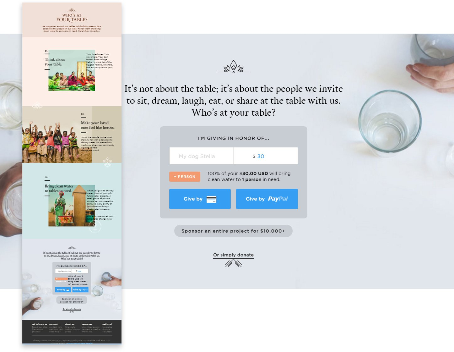screenshot of long scrolling Charity Water page design
